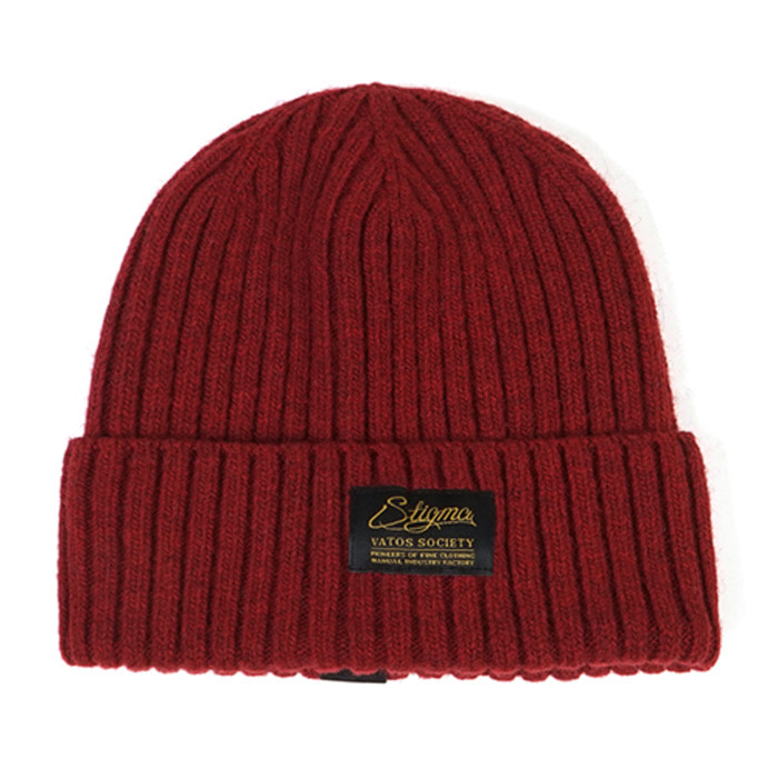 스티그마LABEL WOOL BEANIE BURGUNDY