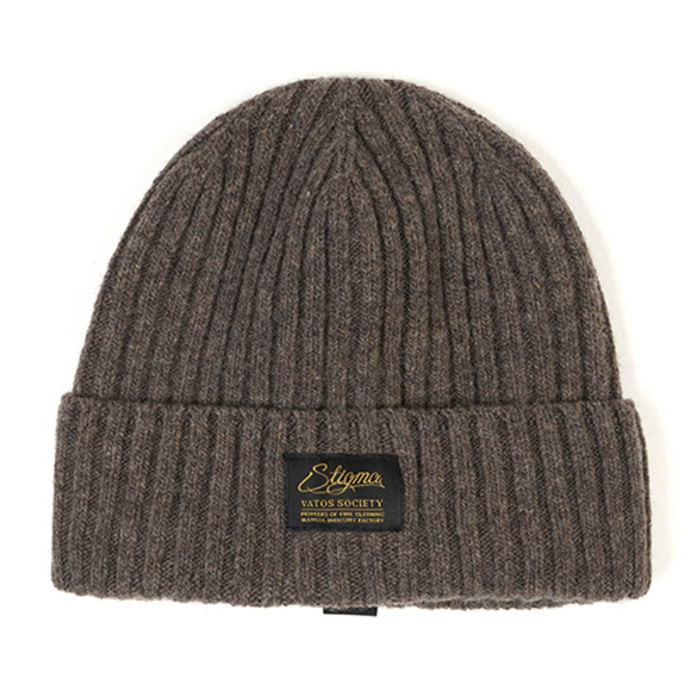 스티그마LABEL WOOL BEANIE BEIGE