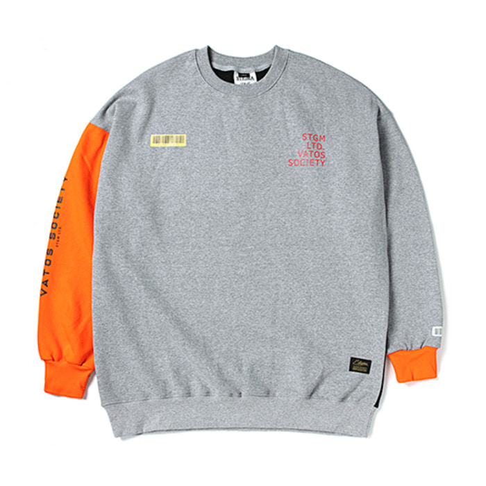 스티그마BARCODE OVERSIZED HEAVY SWEAT CREWNECK ORANGE