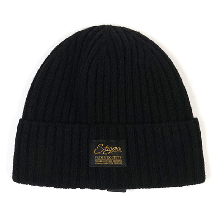 스티그마LABEL WOOL BEANIE BLACK