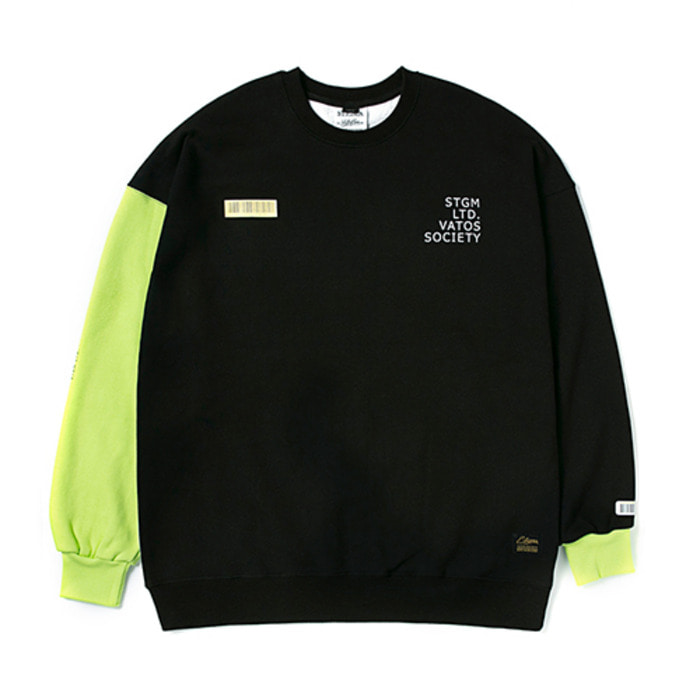 스티그마BARCODE OVERSIZED HEAVY SWEAT CREWNECK NEON GREEN