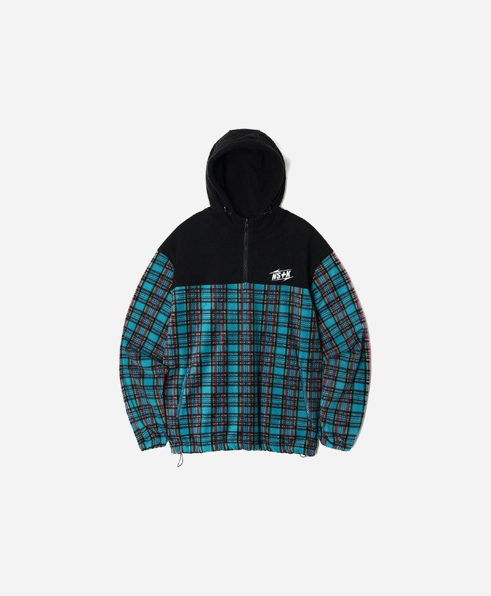 NASTY KICK네스티킥_[NK] ECHO FLEECE ANORAK BLUE GREEN (NK18A011H)
