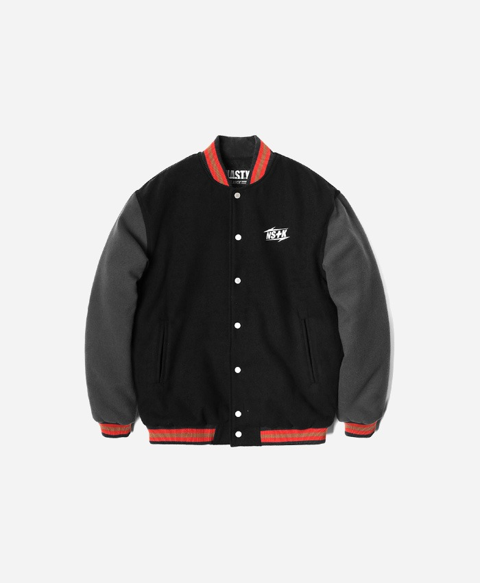 NASTY KICK네스티킥_[NK] NSTK NARROW VARSITY JACKET BLACK (NK18A118H)